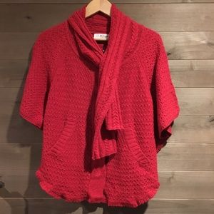 SPARROW Anthro Scarf Tie Wool Poncho Cape Sweater